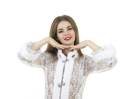 Beautiful, happy, emotional young woman with long hair, dressed like Santa Claus smiling. Christmas-New year carnival. Isolated images on white background.