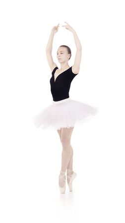 Gorgeous ballerina, in a white tutu dancing ballet. Studio shot on white background , isolated images. Banque d'images