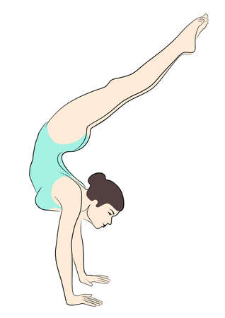 A circus artist, acrobat, gymnast, performs acrobatic and gymnastic elements. Vector image.