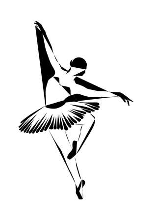A gorgeous ballerina dancing ballet in a tutu. Vector drawing.