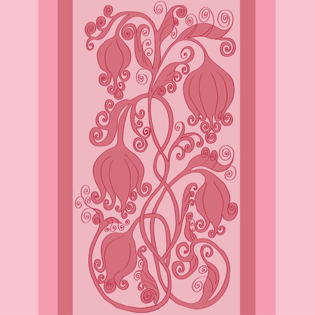 pink flower: beautiful border with pink flower Illustration