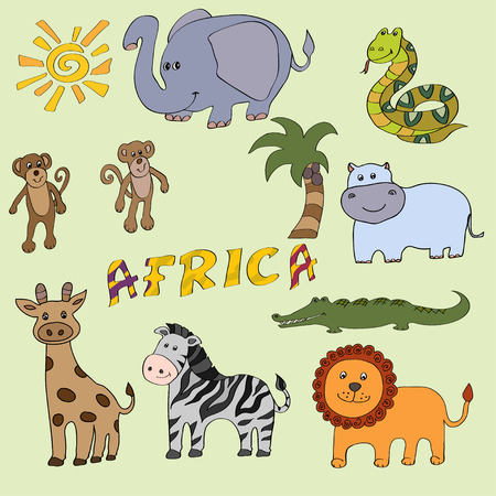 Set of  cute African animals  Vector