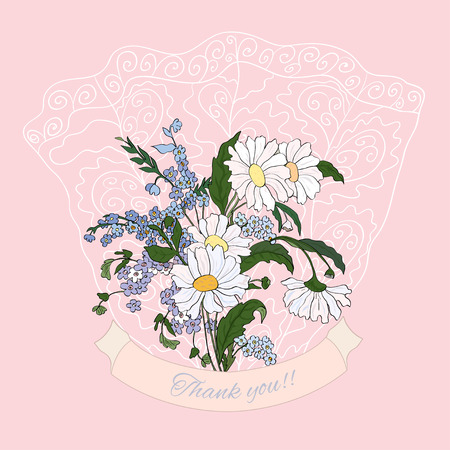 Thank you greeting with bouquet of daisies  Vector