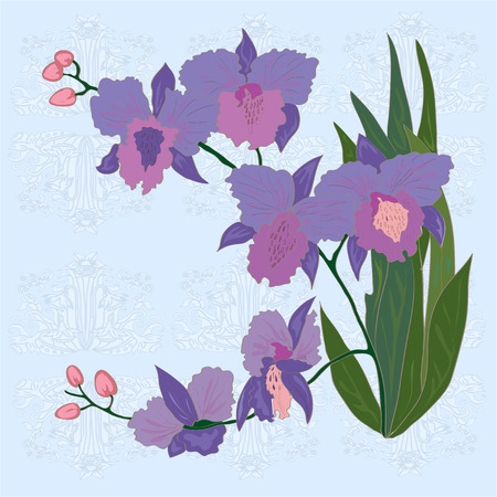 Floral border for a greeting card. Vector