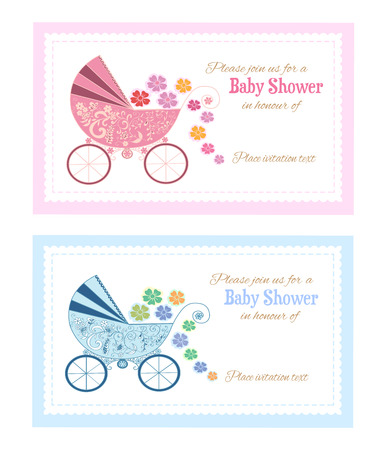 Set of baby shower invitations Vector