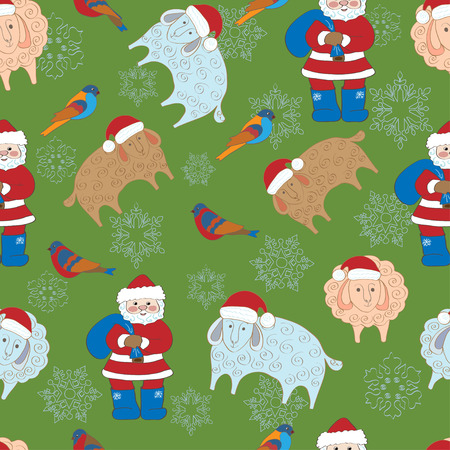 worldwide wish: Seamless pattern with Merry christmas greetings Illustration