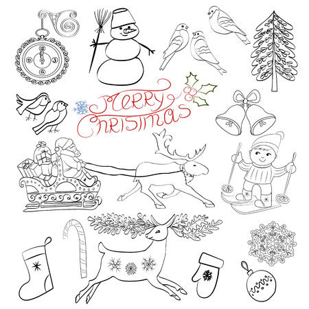 worldwide wish: Sketch with decorative Christmas elements.