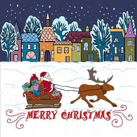 worldwide wish: Christmas Greeting card. Illustration