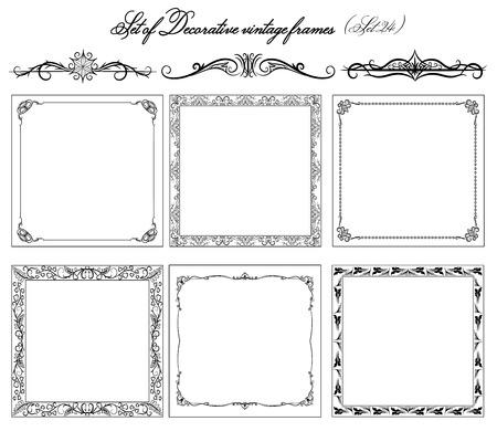 bordes decorativos: Conjunto de las fronteras y los marcos de la vendimia