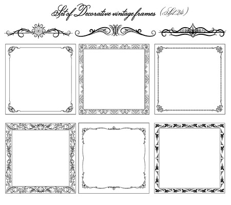 decorative borders: Set of vintage borders and frames