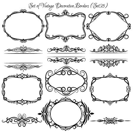Set of vintage decorative borders and frames.