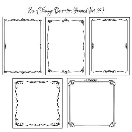 cenefas decorativas: Conjunto de bordes y marcos decorativos vintage. Vectores
