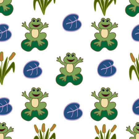 lily pad: Seamless pattern with frogs.