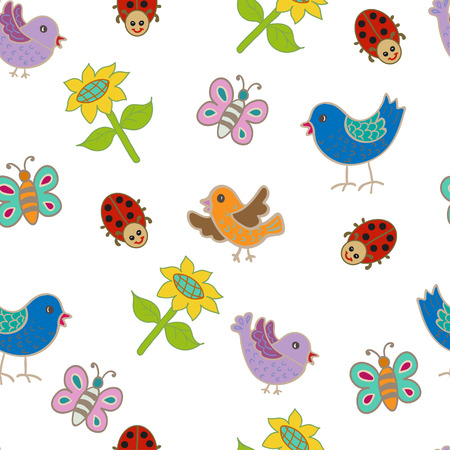 Seamless pattern with birds and sunflowers. Vector