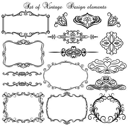 bordi decorativi: Insieme dei bordi decorativi vintage e cornici. Vettoriali