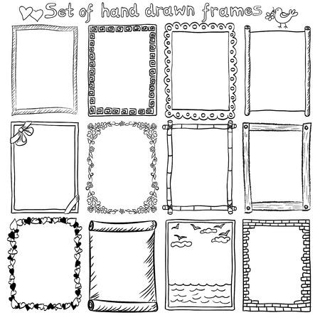 Set van hand getrokken decoratieve randen en frames. Stock Illustratie