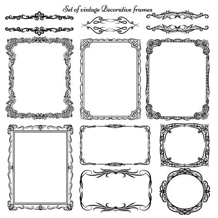 cenefas decorativas: Conjunto de fronteras decorativas de la vendimia Vectores