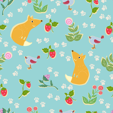 Seamless pattern with cute fox. Vector