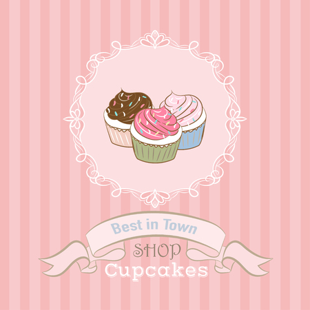 cupcake illustration: Illustration with cupcake shop best in town.