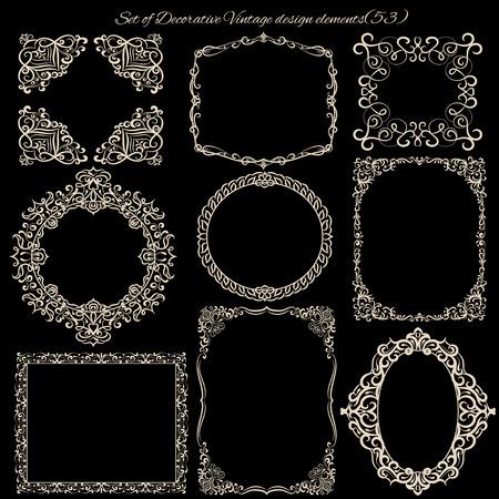 vintage paper: Set of Decorative Vintage frames and borders.