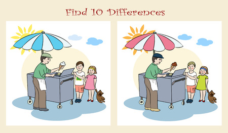 to find: Find ten differences. Visual puzzle. Illustration