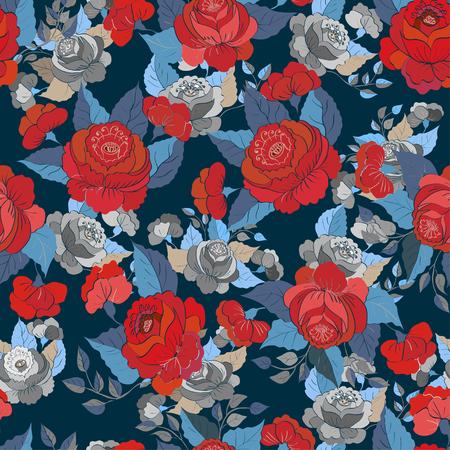 vintage paper: Seamless floral pattern