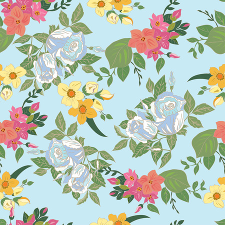 floral decoration: Seamless floral pattern. Illustration
