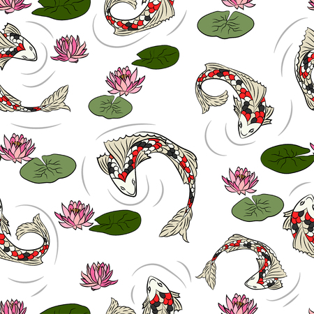 lily pads: Seamless pattern with fish.
