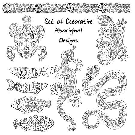 aboriginal: Set of Decorative  Aboriginal animals.