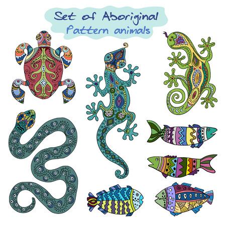 sea snake: Set of Aboriginal decorative animals.