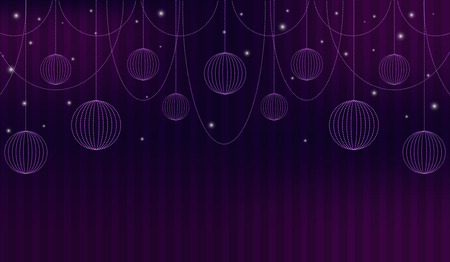 theatrical performance: Violet abstract background with theatre curtain, beads, sparkles and spheres. Vector illustration.