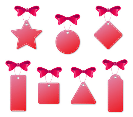 Set of red tags with bows and handlers. Isolated on white background. Vector illustration Illustration