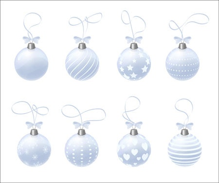 Set of 8 vector realistic Christmas balls. Isolated vector toys. Balls with hearts, snowflakes, stripes and dots. Clear blue ball. Illustration
