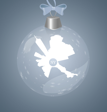 Winter christmas toy with New York city round sllhouette. Snowflakes in transparent glass toy.  イラスト・ベクター素材