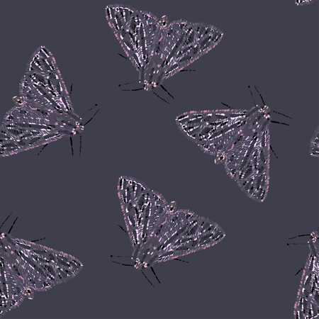 Abstract hand drawn moth seamless vector pattern.  イラスト・ベクター素材