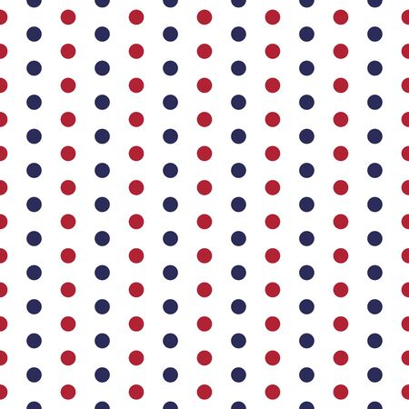 American patriotic seamless pattern with dots in traditional red, blue and white colors. USA Independence Day 4th July celebration concept. 일러스트