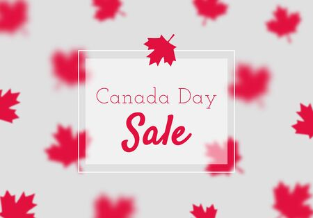Canada Day sale poster template. Simple vector illustration with red maple leaves.