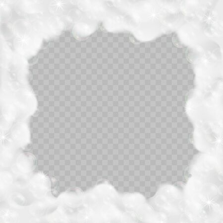 Bath foam frame isolated on transparent background. Realistic sparkling shampoo bubbles and soap lather vector illustration. Stock Illustratie