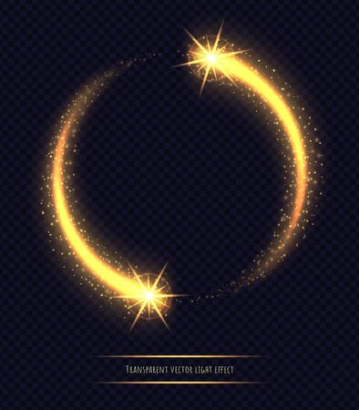 Magic golden circle light effect isolated on transparent background. Luminescent stardust with bright bokeh and sparkles. Vector illustration.