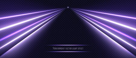 Violet neon light effect isolated on transparent background. Dynamic purple slow shutter speed effect. Abstract luminescent lines vector illustration.