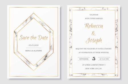 Wedding invitation collection with save the date card vector templates. Elegant invitations set with gold polygonal frames and gray marble texture.