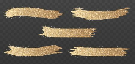 Gold glitter brush strokes set. Bright glowing festive sequins and sparkles. Golden sparkle luxury design element isolated. Vector illustration. 向量圖像
