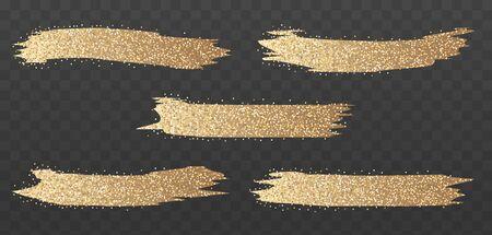 Gold glitter brush strokes set. Bright glowing festive sequins and sparkles. Golden sparkle luxury design element isolated. Vector illustration. Illustration
