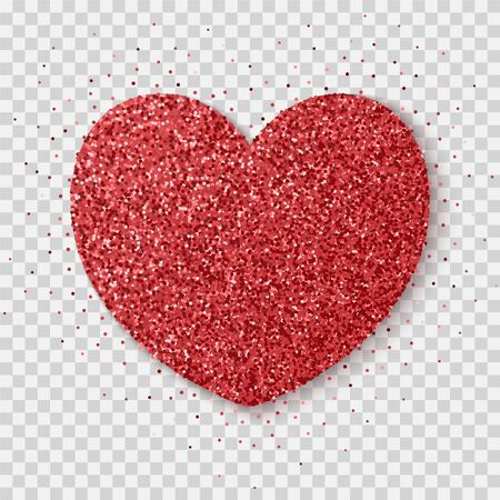 Red glitter heart isolated on a transparent background. Bright glowing festive sequins and sparkles. Realistic Valentines Day vector illustration.