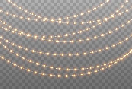 Kerst slinger geïsoleerd op transparante achtergrond. Gloeiende gele gloeilampen met fonkelingen. Kerstmis, Nieuwjaar, bruiloft of verjaardag decor. Feest evenement decoratie. Winter vakantie seizoen element. Vector Illustratie