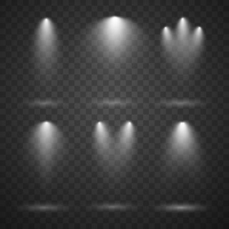 White spotlights set, bright lights, stage lighting isolated on transparent background. Transparent vector effect. Archivio Fotografico - 137178705