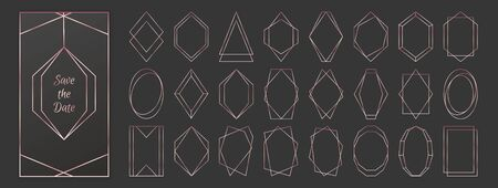 Rose gold polygonal frames collection isolated on dark grey background. Vector illustration in art deco style - perfect decision for wedding invitations, birthday cards, luxury posters etc.  イラスト・ベクター素材