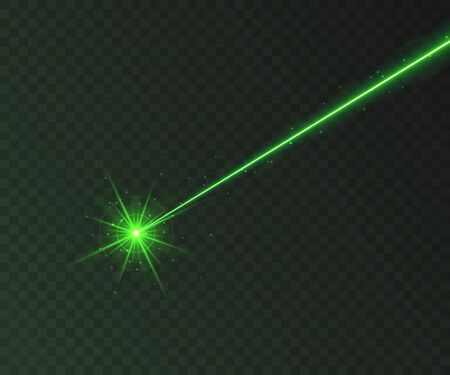 Green laser beam light effect isolated on transparent background. Neon light ray with sparkles. 矢量图像