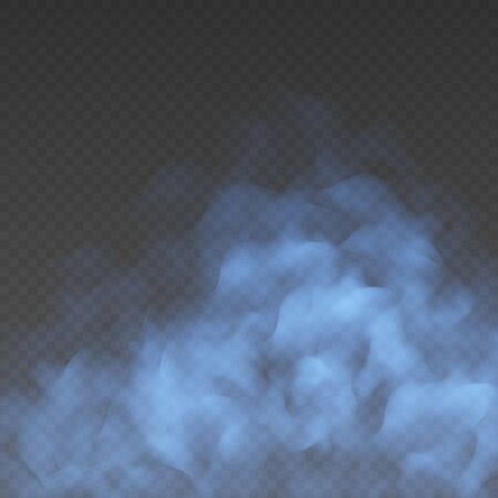 Blue fog or smoke cloud isolated on transparent background. Realistic smog, haze, mist or cloudiness effect. Realistic vector illustration.