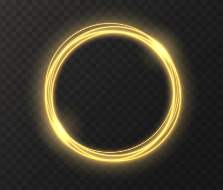 Golden glowing circle isolated on transparent background. Yellow magic ring light effect. Vector illustration.